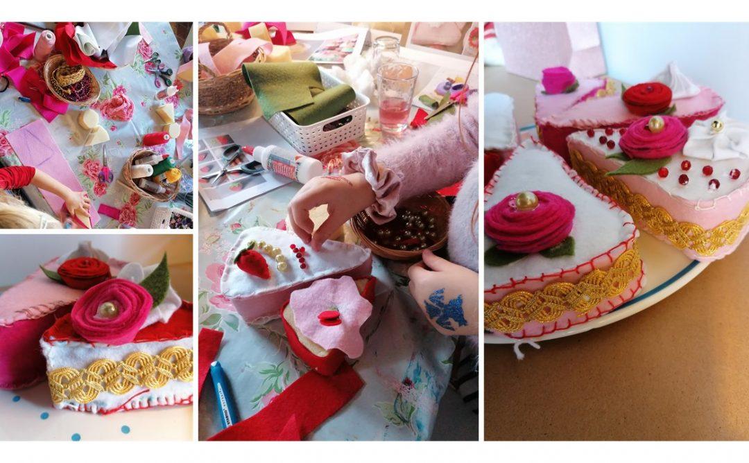 Workshop taartjes maken van stof!! Jeeejjjj kinderfeestje!!!